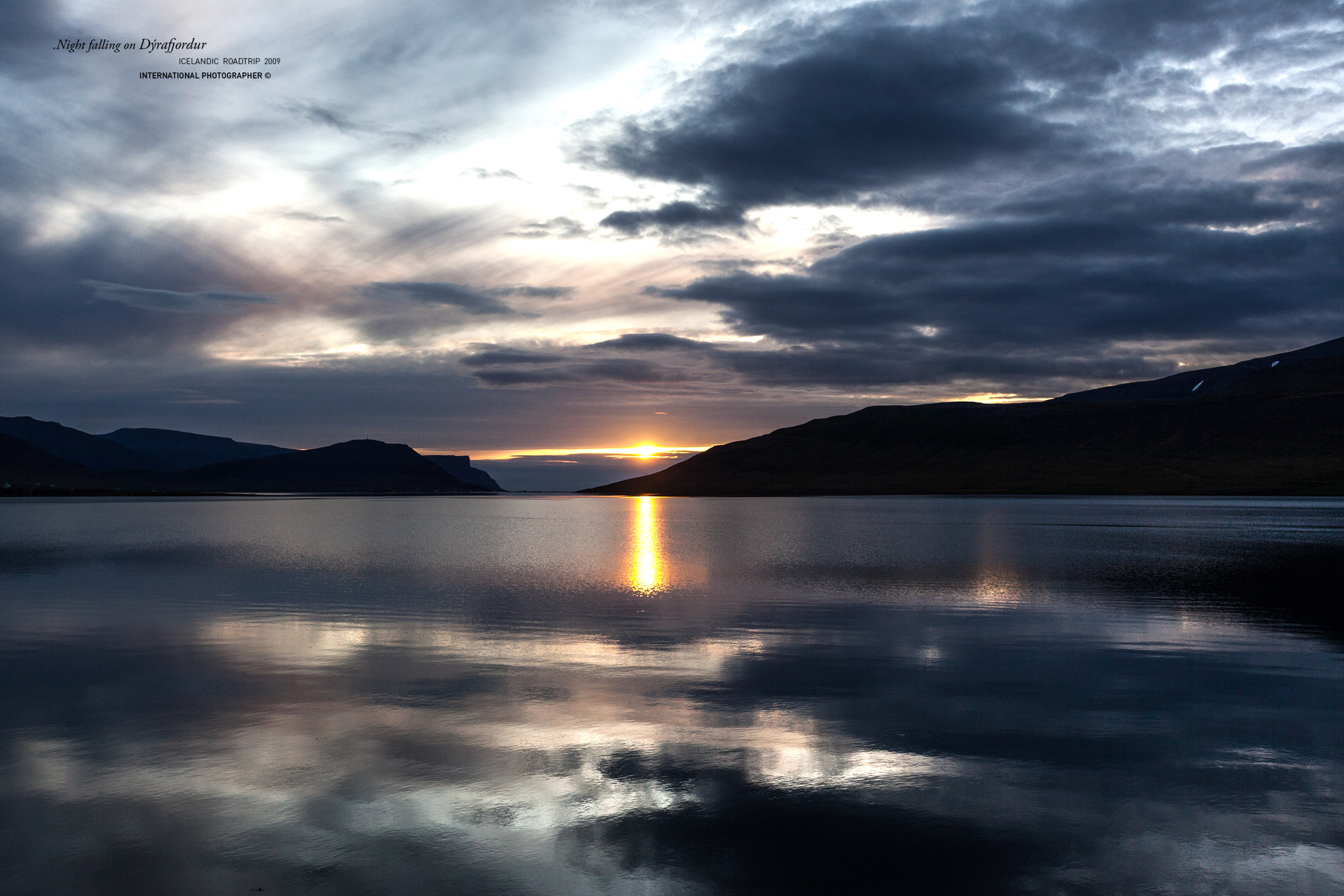Coucher de soleil sur le Dyrafjordur