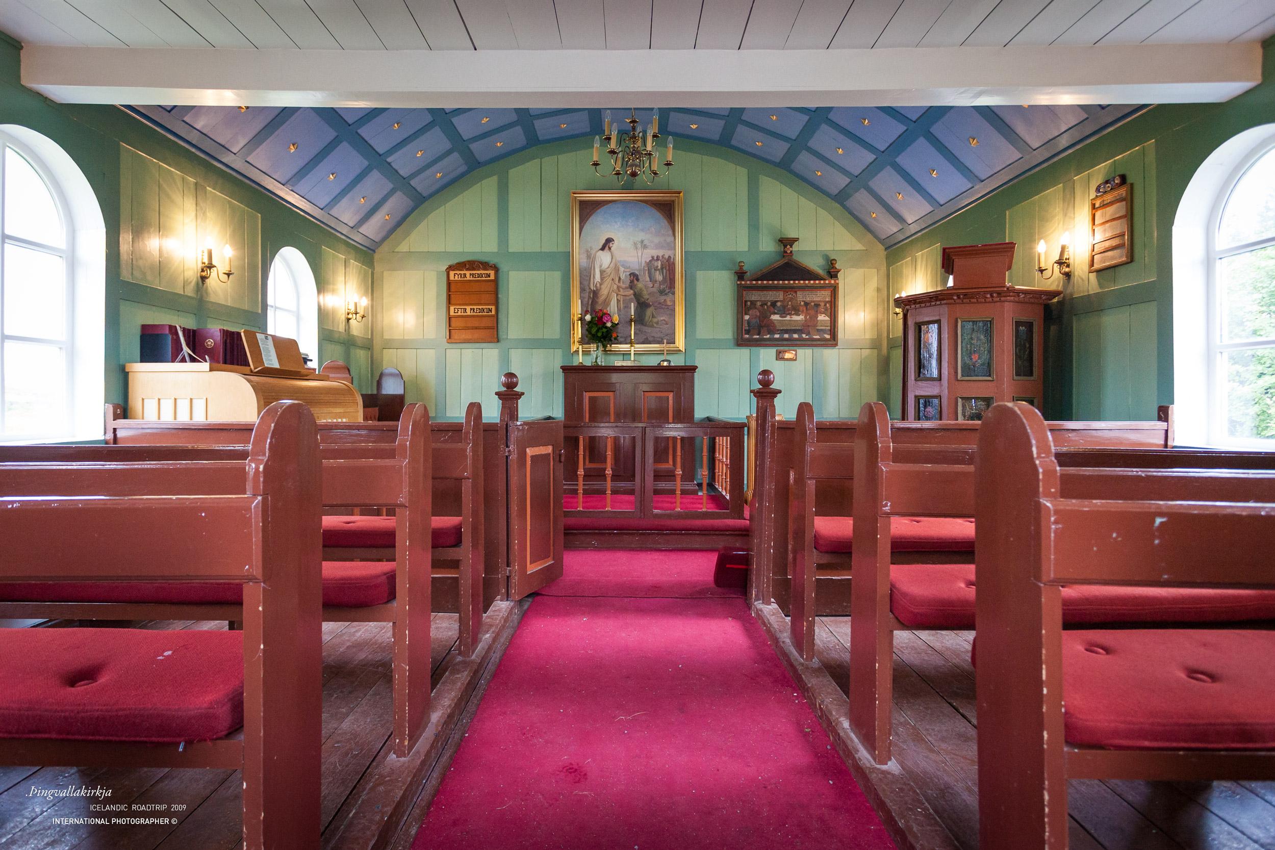 Intérieur de l'église THINGVALLAKIRKJA à Thingvellir