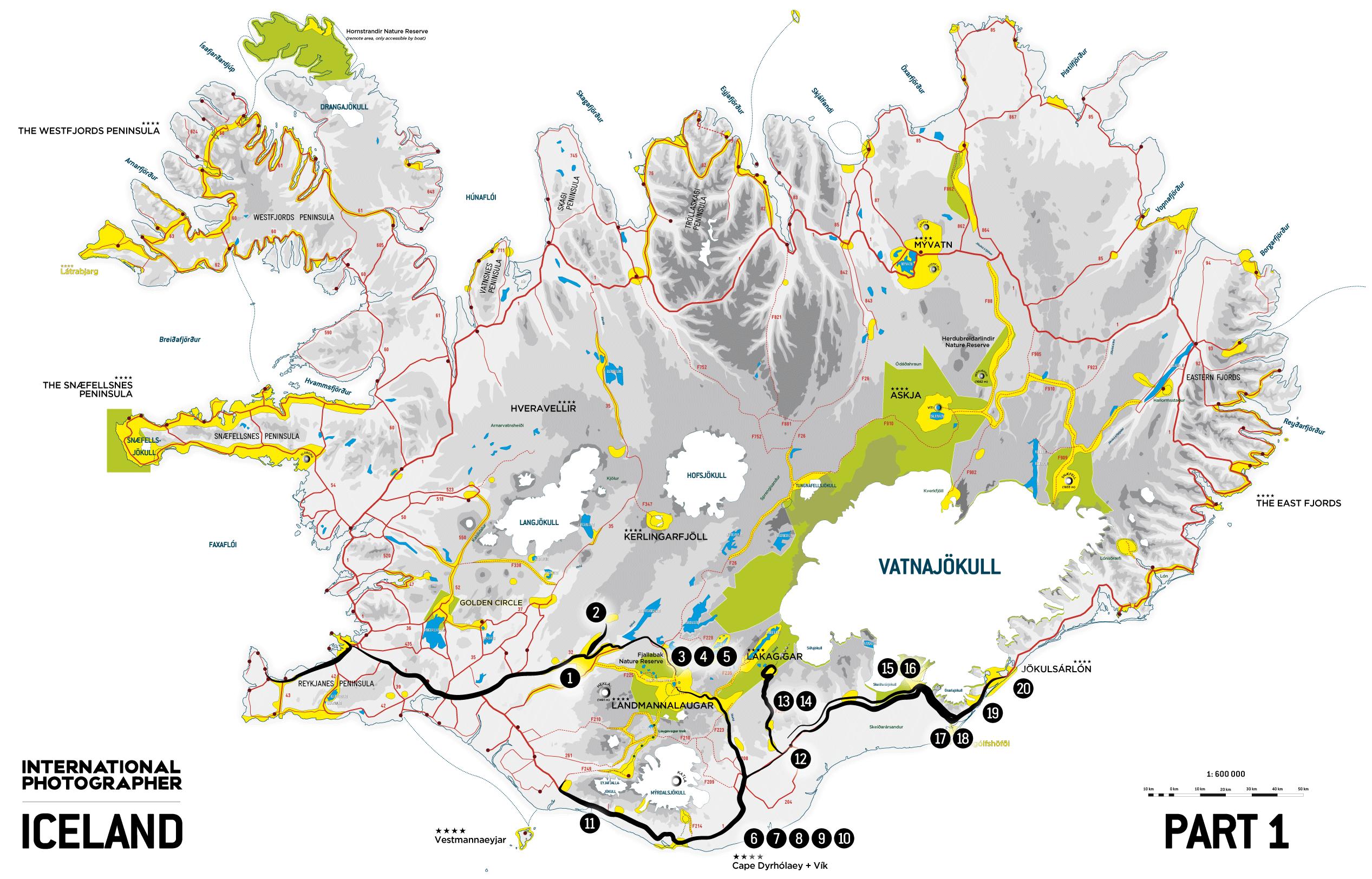 Carte d'Islande partie 1 du récit de voyage 2009