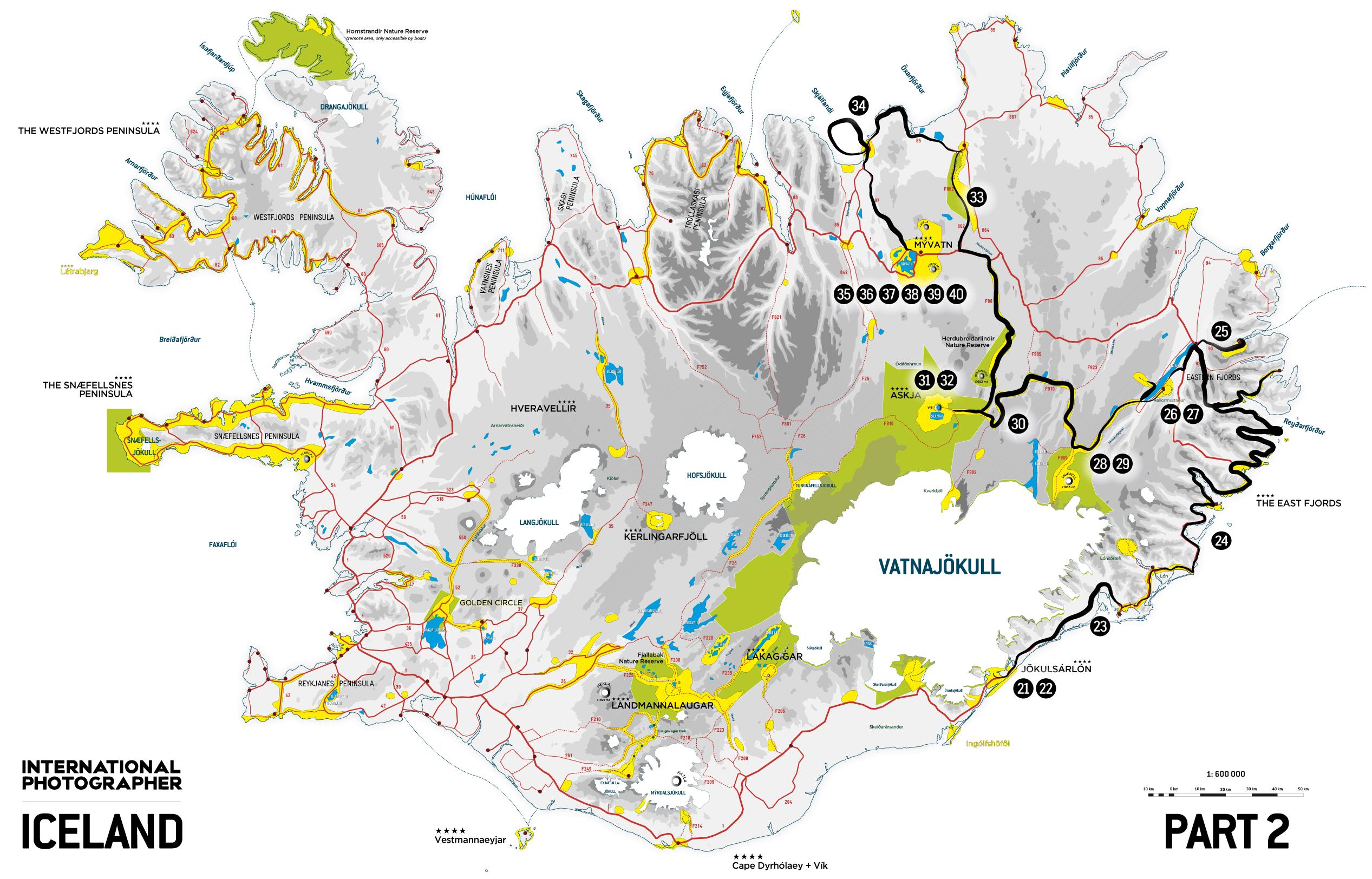 Carte de la deuxième partie du road trip en Islande en 2009