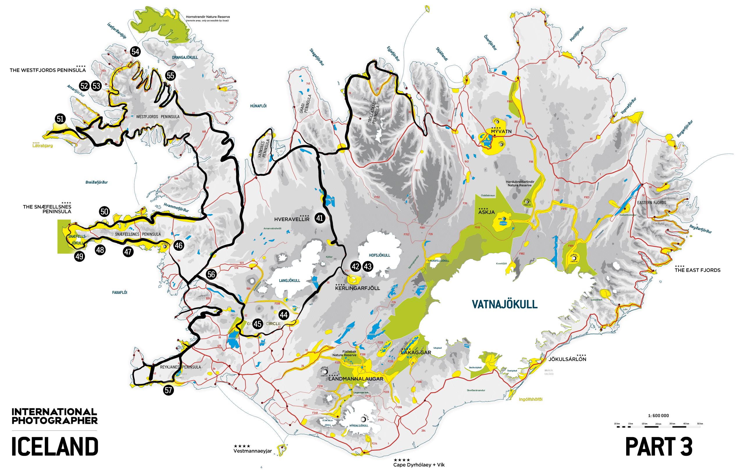 Carte de la troisième partie du road trip en Islande en 2009