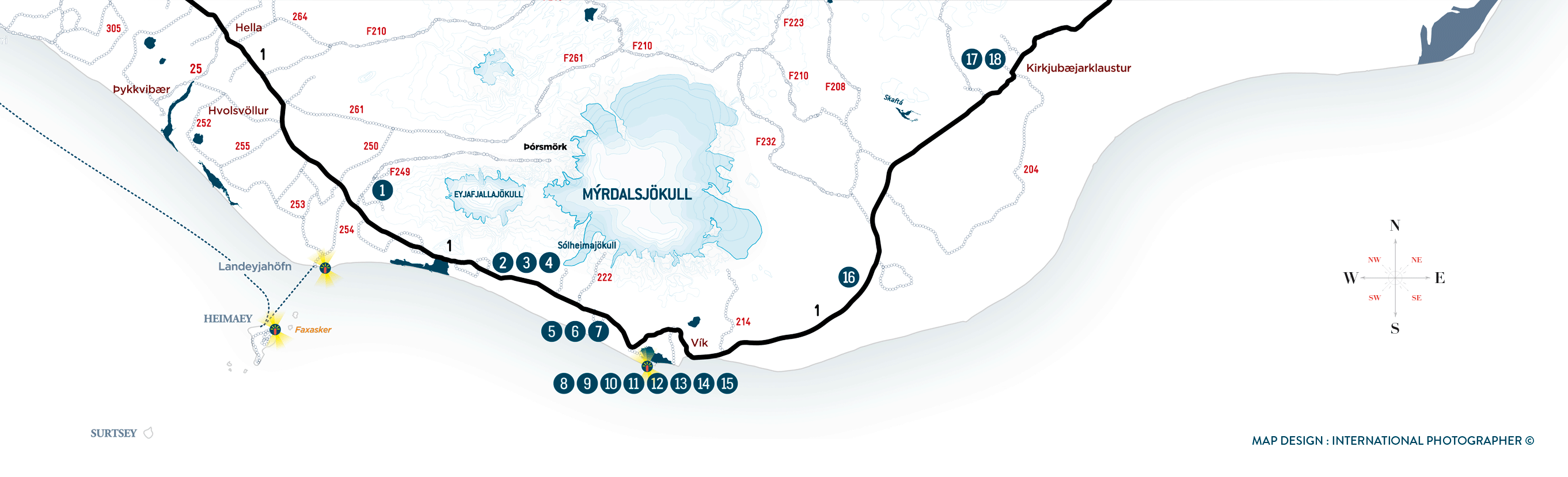 Carte d'Islande détail de la côte sud