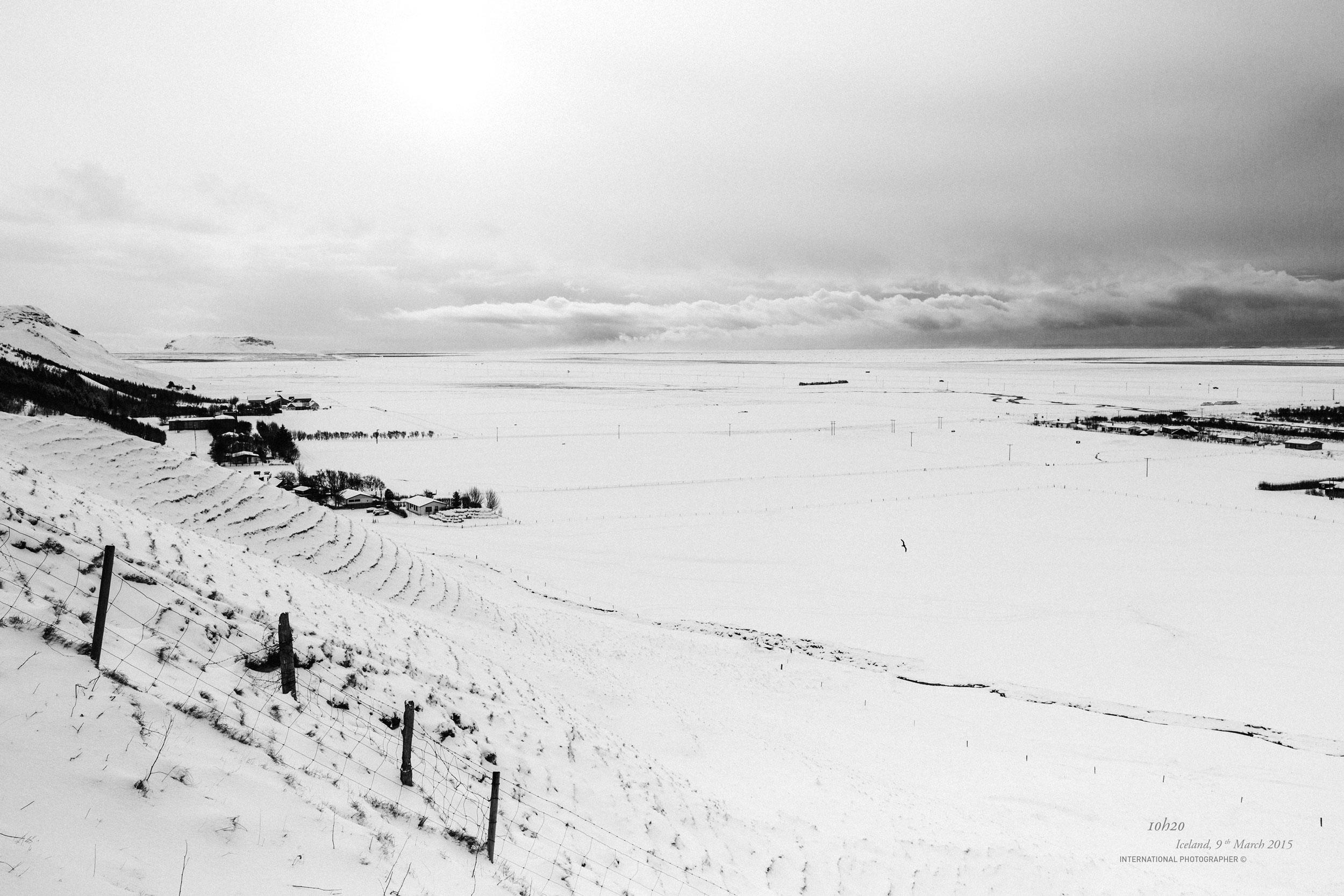 La plaine de Skogar recouverte de neige
