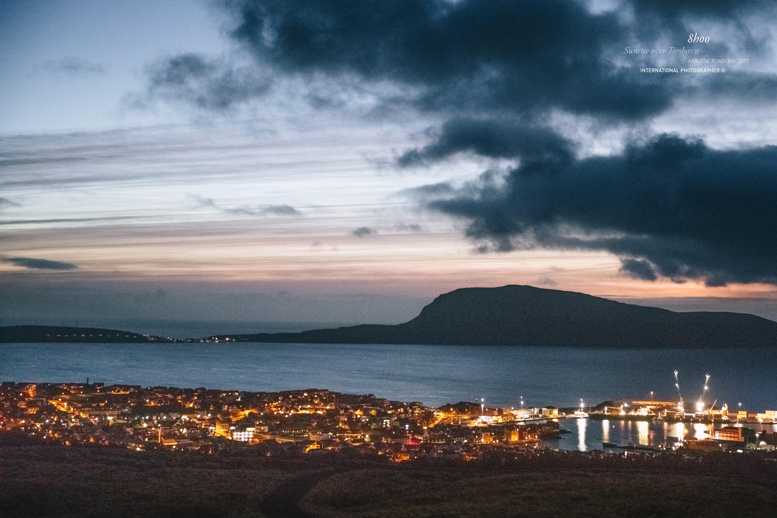 Première lueurs sur Tórshavn, capitale des Iles Féroé